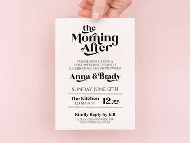 'The Morning After' in black retro type above event details on white background