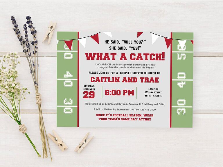 Football field design and red and white banner with 'What a catch!' in bold red type above event details