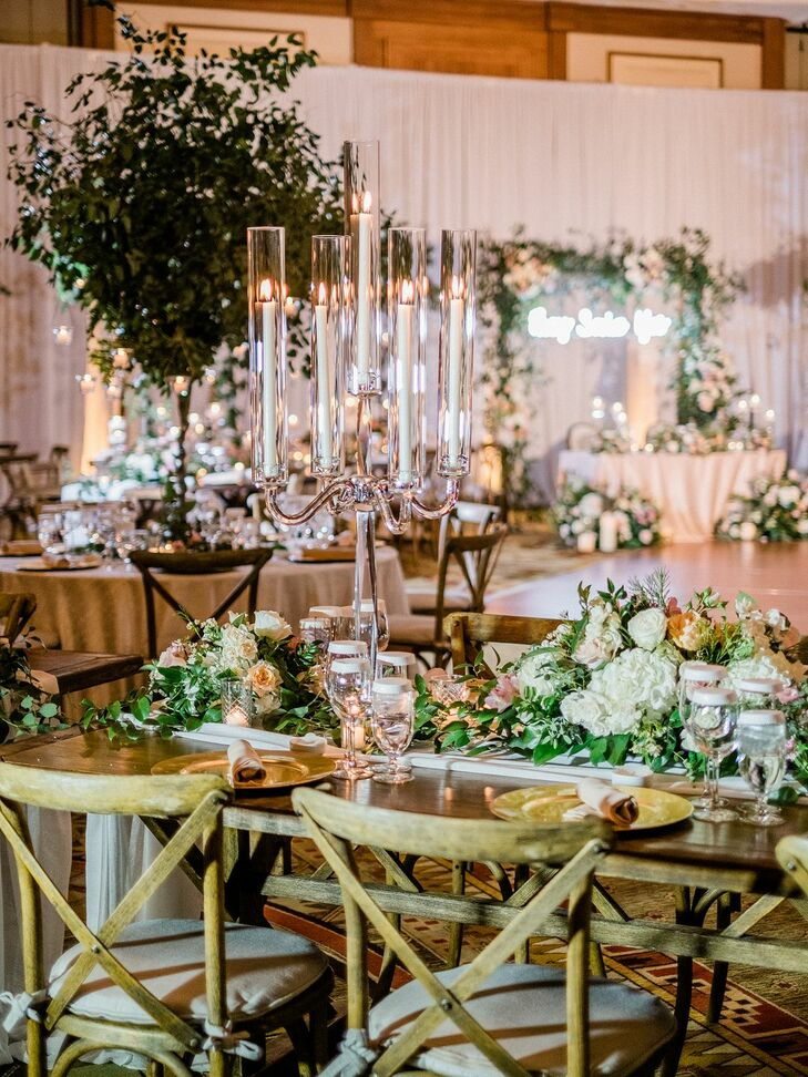 Ballroom Wedding Reception With Taper Candles