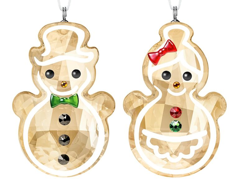 Crystal gingerbread man and woman ornaments