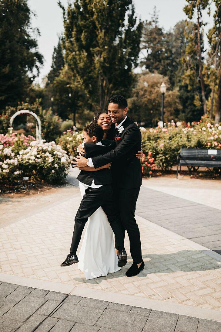 Family Group Hug During Wedding  in Sacramento, California