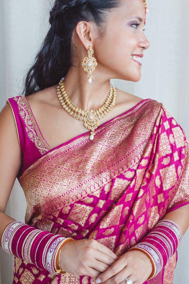 Classic Fuchsia and Gold Sari