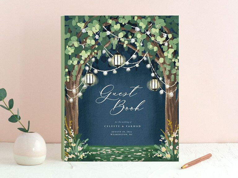 the knot illuminated trees green black and blue wedding guest book idea