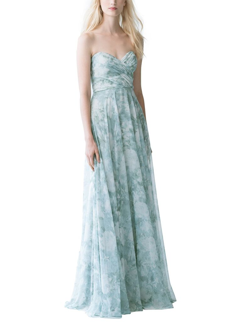 Blue watercolor strapless floral bridesmaid dress