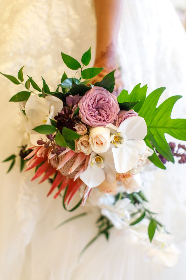 Classic Bouquet with Ranunculus, Orchids, Garden Roses and King Protea
