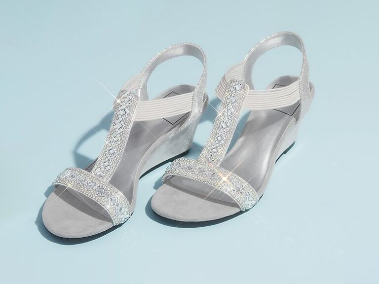 davids bridal metallic mother of the groom wedged sandals with jewels