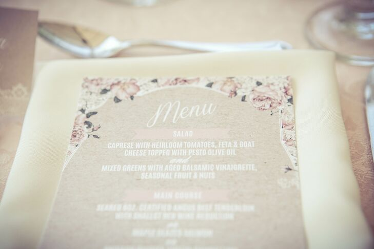 Brienne Juniper designed all the stationery with a romantic floral design, to wedding's garden theme.