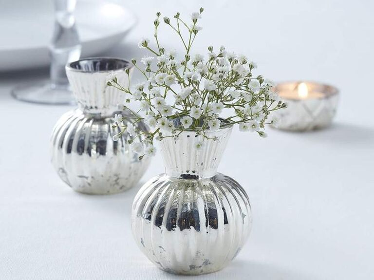 The Celebrations House ribbed silver glass vase