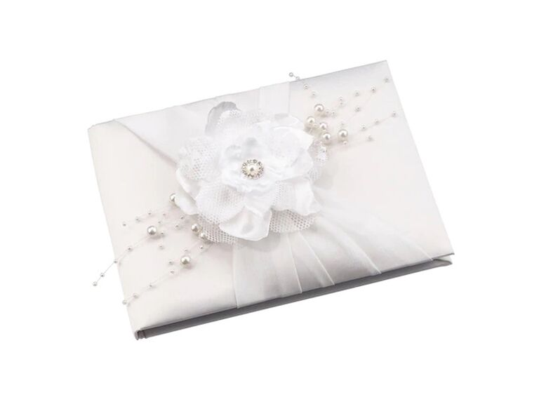 michaels white satin wedding guest book idea with flower tulle and pearls