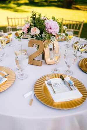 Gold Block Table Numbers and Chargers
