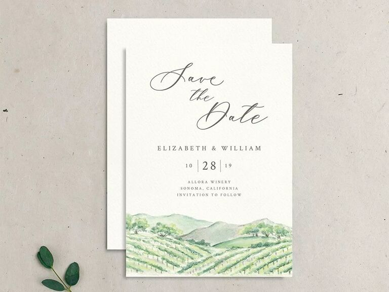 Watercolor winery landscape on bottom border with event details in elegant type