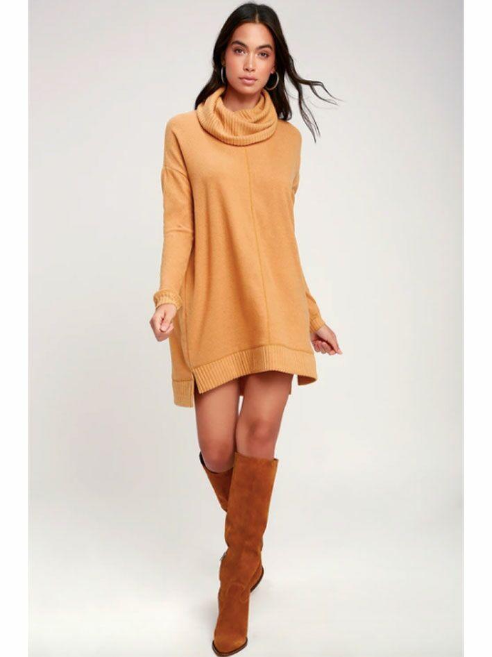 Camel cowl neck sweater dress