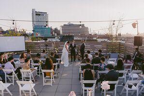 Rooftop Wedding Ceremony at Dobin St. in Brooklyn, New York