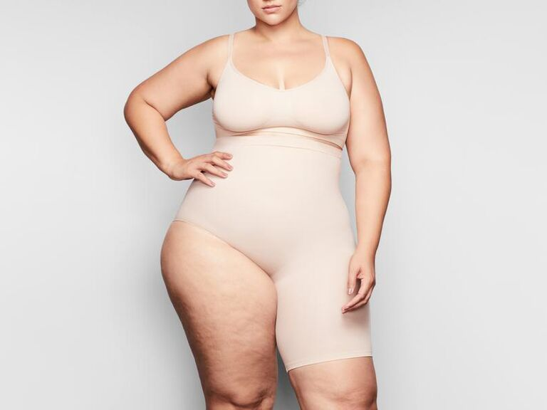 One leg high waist short shapewear for wedding dress with slit