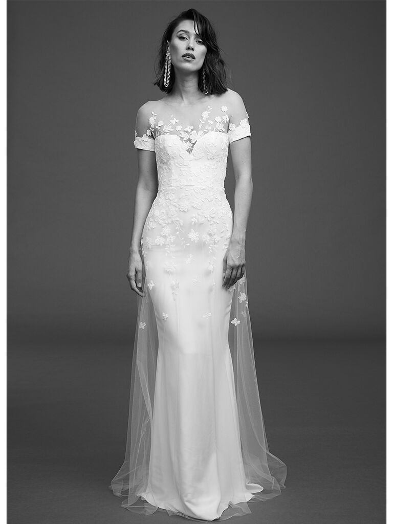 Rime Arodaky fitted tress with embroidered tulle overlay