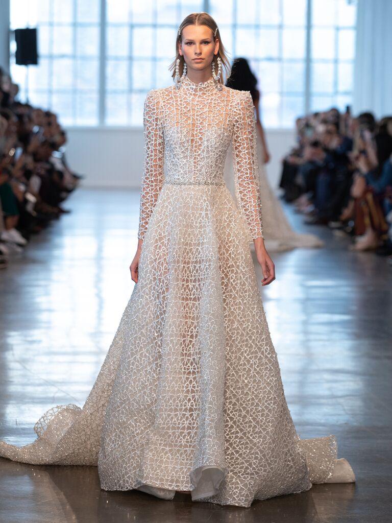 Berta Spring 2020 Bridal Collection long-sleeve lace wedding dress