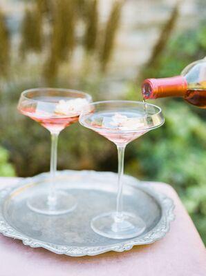 Rosé in Elegant Coupe Glasses