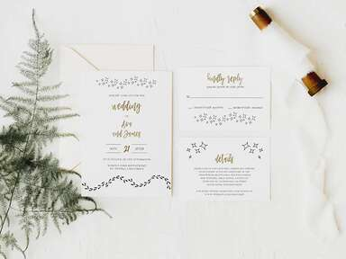 Stars and footsteps graphics event details in black and gold Harry Potter font on white background