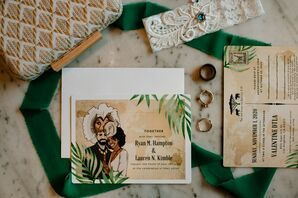 Safari-Inspired Invitations for Wedding at Valentine in Downtown Los Angeles, California