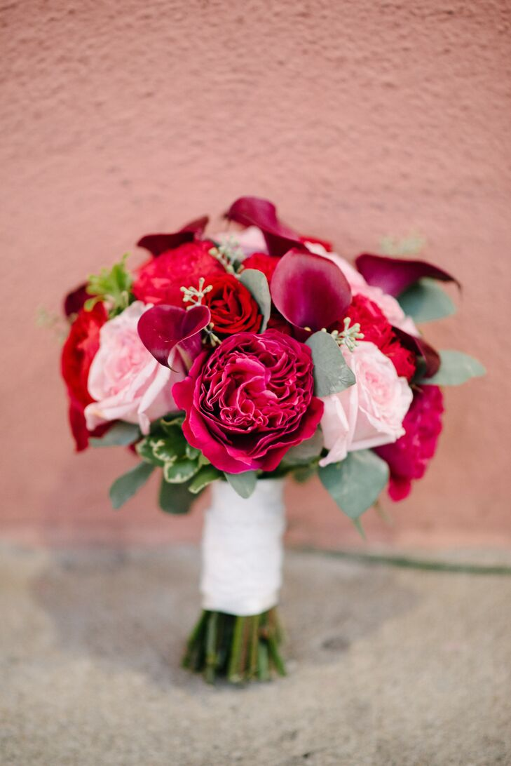 Burgundy and Pink Bridal Bouquet