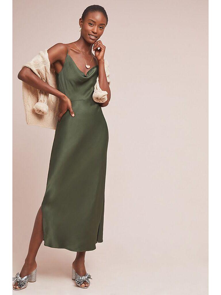 Dark green scoop neck slip dress