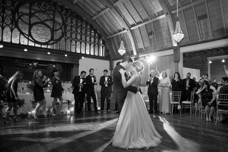 """""""Our venue was incredibly beautiful and we were so lucky to find it,"""" Alexandra says of Long Beach's Loft on Pine, which had the perfect combination of vintage and modern elements to fit her and Walter's laid-back yet classically informed style."""