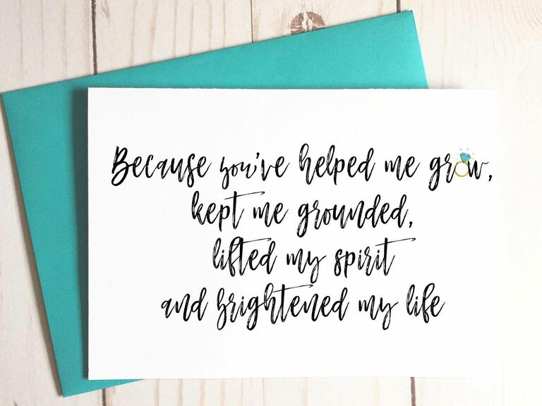 bridesmaid proposal card with sweet poem