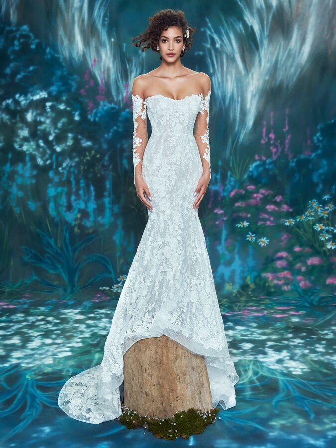 Ines Di Santo off-the shoulder long sleeve trumpet gown