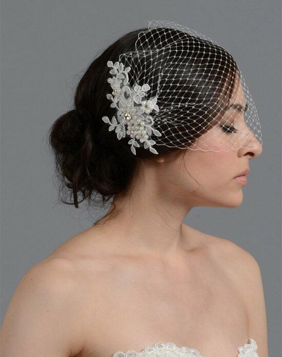 Tulip Bridal Birdcage Veil with Alencon Lace Flower Wedding Veils photo