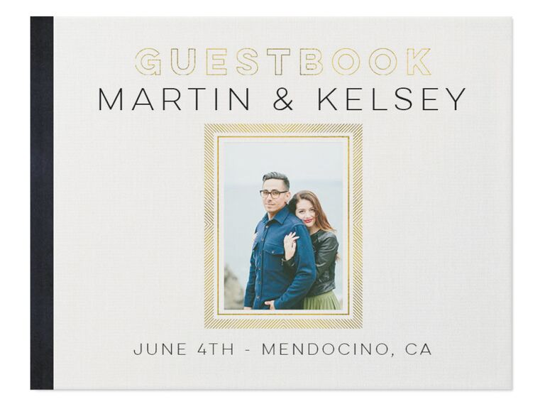 shutterfly gilded black white and gold wedding guest book idea with photo cover