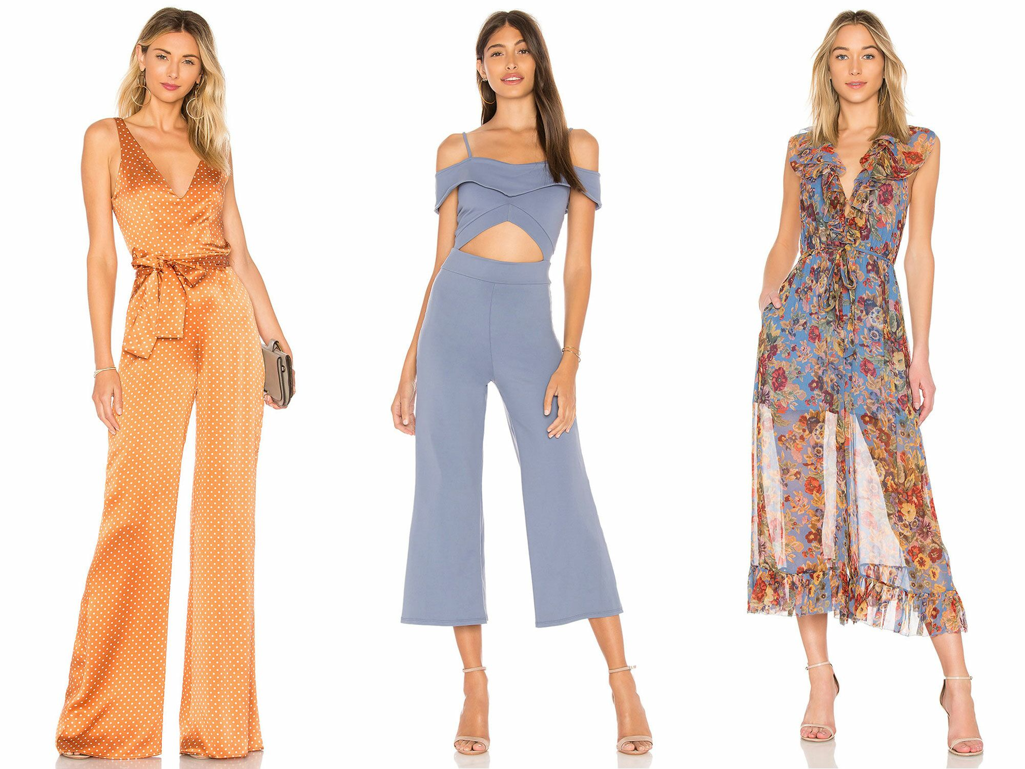 Coolred-Women Print Wide Legs Trendly Off Shoulder OL Jumpsuit Trousers