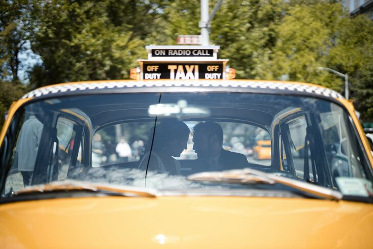 Couple in Yellow Taxicab in New York