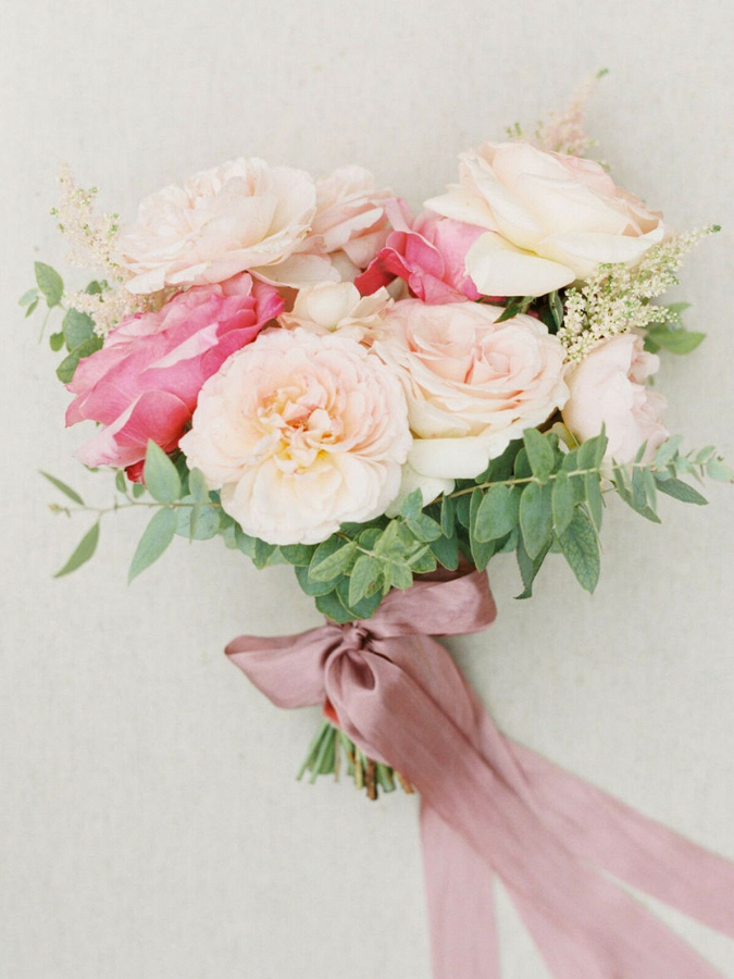 Pink bouquet with pink ribbon