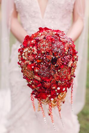 Sparkly Red Brooch Bouquet