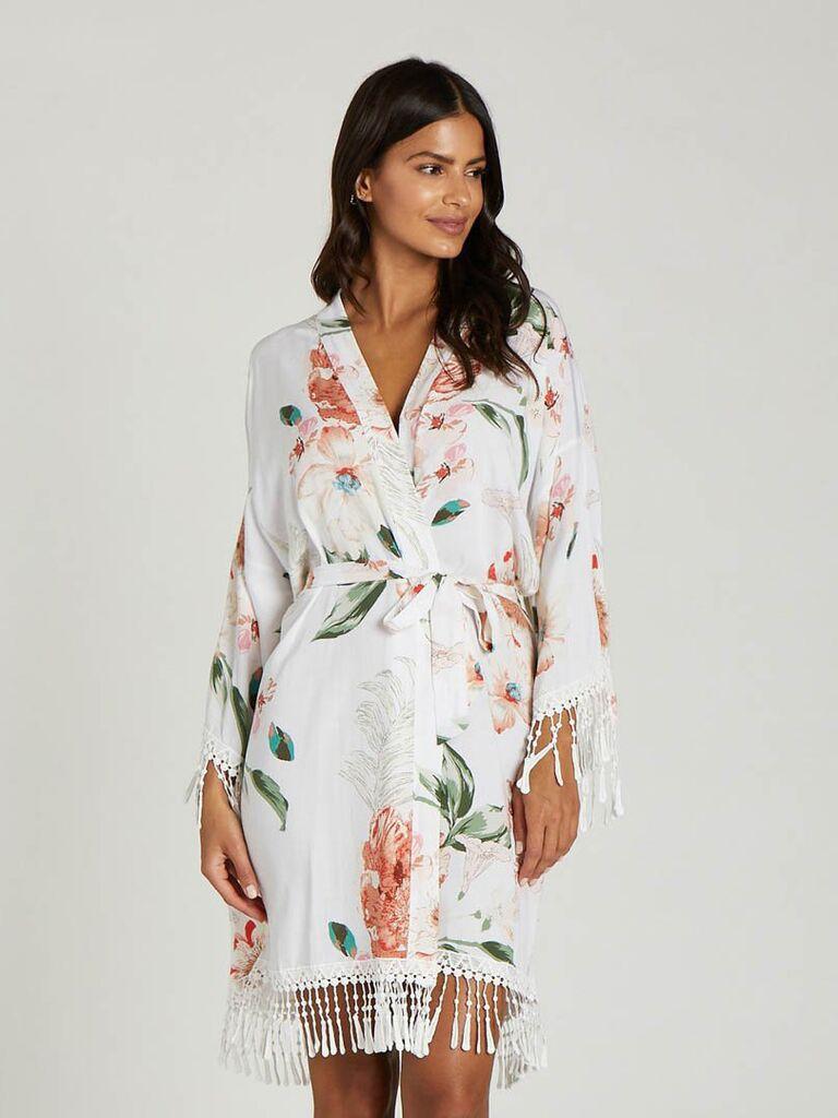 Botanical bridesmaid robe affordable bridal party gift