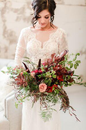 Wedding Bouquet with Vines, Veronica and Hypericum Berries