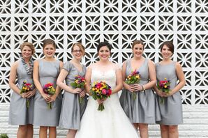 Bridesmaids in Gray With Colorful Bouquets