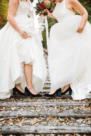 Brides Wearing Blue High Heels
