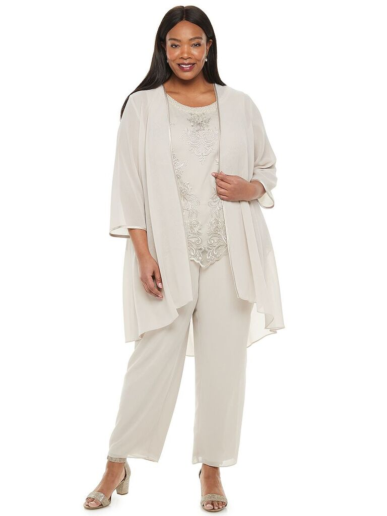kohl's cream three piece mother of the bride pant suit with lace