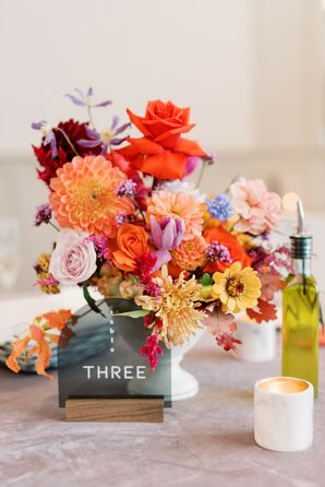 Modern Black Acrylic Table Number and Colorful Centerpiece With Dahlias