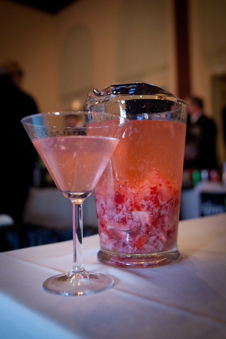 Signature cocktails included muddled fresh strawberries topped off with bubbling champagne.