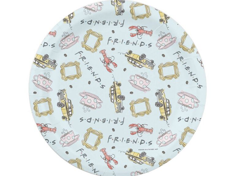 Light blue plates with Friends graphics