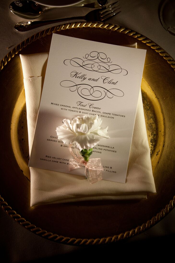 The elegant menu cards were a DIY project for Kelly and Clint. They used a local printer to help them get the look they wanted.