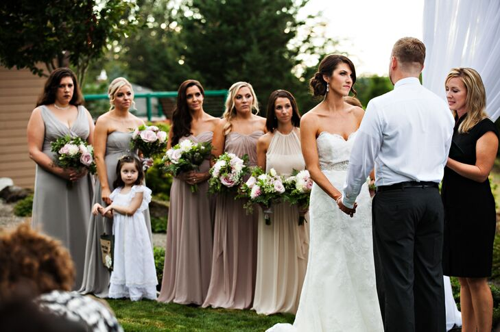With a looming time crunch and a limited selection of available dresses, the bride opted to let her 'maids choose dresses in a spectrum of neutrals, creating an ombre effect.