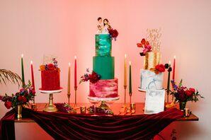 Trio of Cakes at Reception in Miami, Florida