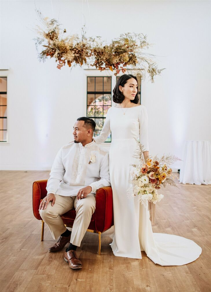 For Gabriella and Louie's modern, minimalist wedding at BLDG 177 in San Diego, California, a subtle-yet-bohemian color palette of beige, caramel and r