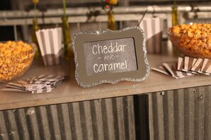 Popcorn Bar With Chalkboard Signs at Cocktail Hour