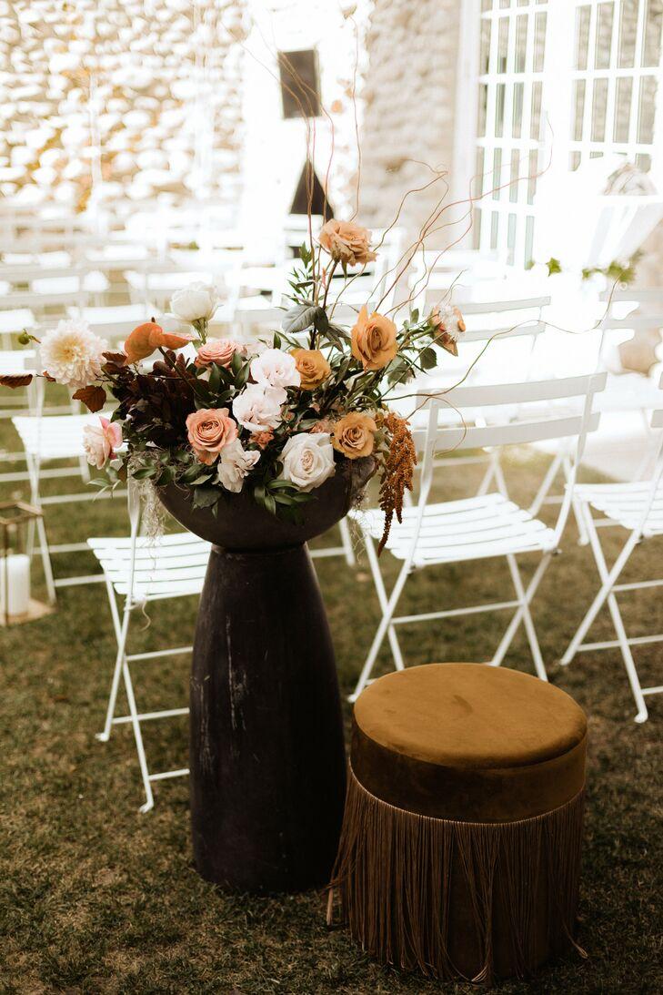 Floral Ceremony Aisle Arrangement at Surf Hotel in Buena Vista, Colorado