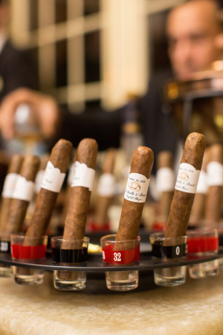 Michelle and Brad had a station for hand-rolled cigars and cognac, and it was a hit with their guests. Each cigar was made right in front of their friends and family members before they were dipped in cognac.