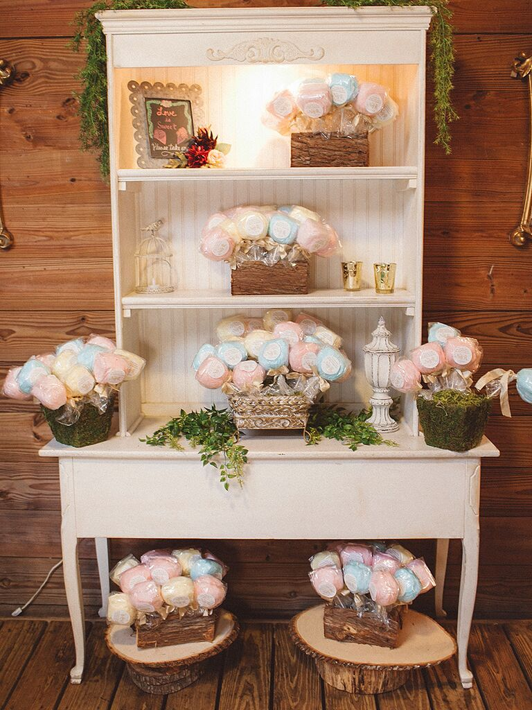 Cotton candy dessert station for a wedding reception